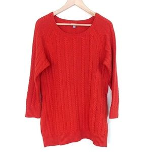 J. Jill Wool Blend Burnt Orange Cable Knit Sweater